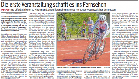 Rheinpfalz-Bericht über das Rennen in Offenbach